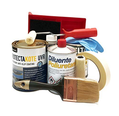 Set Applicazione Vernice piatto doccia bianco liscio UVR 1L, Kit per applicazione ProtectaKote Comprende due rulli in Velour, Manico rullo, Tamponi, Aggrappante, Diluente