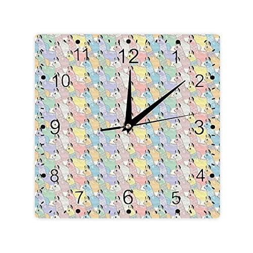 Little Alpacas Pattern Soft Toned Camel Animal Folkloric Print Color Cuadrado Morden Reloj Slient