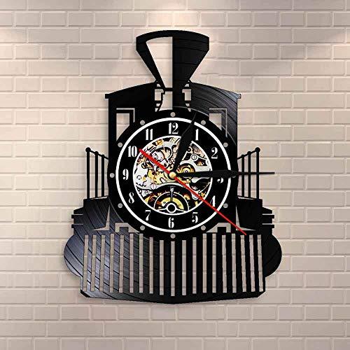 wtnhz LED Reloj de Pared de Vinilo Colorido Vintage Locomotora de Vapor Reloj de Pared Locomotora Tren Disco de Vinilo Reloj de Pared Tren expreso Transporte ferrocarril decoración de la Pared