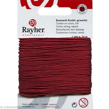 Baumwollkordel, gewachst 1mm stark, 20m rot