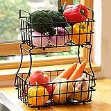 2 Tier Fruit Basket, Metal Fruit Bowl Bread Baskets, Detachable Fruit Holder kitchen Storage Baskets...