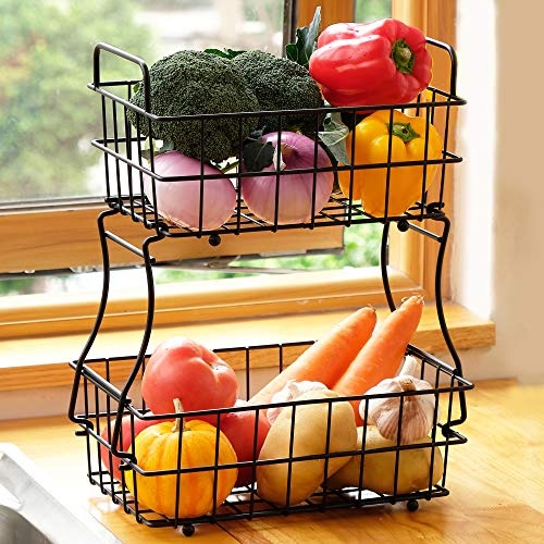 2 Tier Fruit Basket, Metal Fruit Bowl Bread Baskets, Detachable Fruit Holder kitchen Storage Baskets Stand, Black DECLUTTR