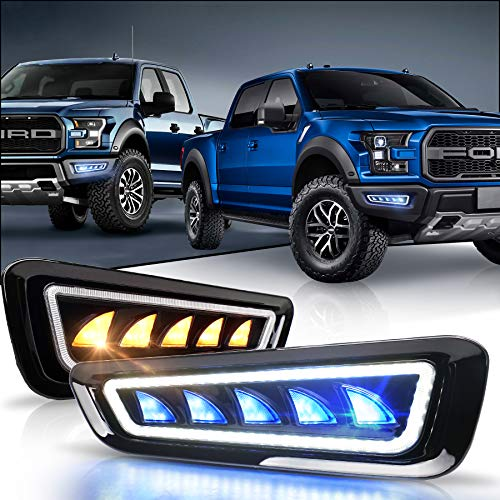 Raptor Fog Lights with Blue/White LED Daytime Running Light Amber Sequential Turn Signals Compatible for Ford F150 Raptor 2017 2018 2019 2020