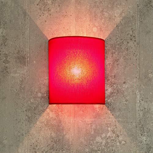 Stoff Wandleuchte ALICE Rot halbrund Loft Design E27 Wandlampe Schlafzimmer Wohnzimmer Flur Beleuchtung