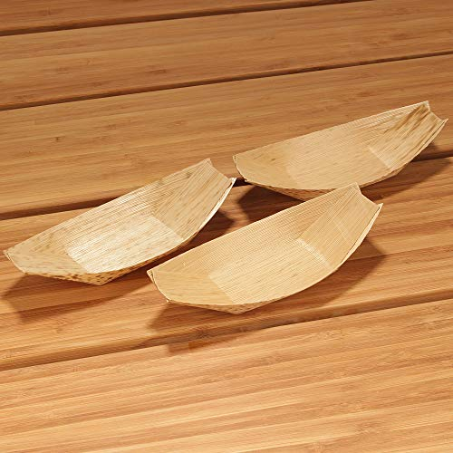 """BambooMN 6"""" x 2.75""""Premium Bamboo Leaf Boat, All Natural and Disposable Compstable for Catering and Home Use, 100 Pieces"""