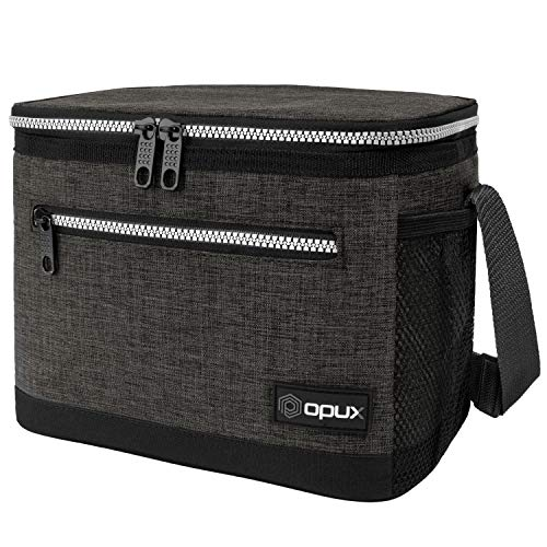 OPUX Premium Lunch Box, Insulated Lunch Bag for Men Women Adult | Durable School Lunch Pail for Boys, Girls, Kids | Soft Leakproof Medium Lunch Cooler Tote for Work Office | Fits 8 Cans (Charcoal)