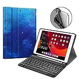 Fintie Tastatur Hülle für iPad 10.2 Zoll 7. Generation 2019, Soft TPU Rückseite Gehäuse Schutzhülle mit Pencil Halter, magnetisch Abnehmbarer Bluetooth Tastatur mit QWERTZ Layout, Sternenhimmel