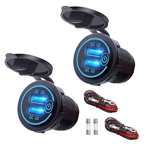 Quick Charge 3.0 Auto USB Steckdose mit Schalter, 12V/24V Dual QC Zigarettenanzünder Adapter, 36 W Einbau Buchse, Wasserdicht Dusutproof und Bule Licht für Motorrad Boot SUV LKW Wohnwagen, 2 Stück