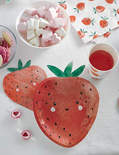 Talking Tables Pack of 12 Size 23cm Strawberry Disposable Paper Plates Adorable Partyware for Your Summer Picnic BBQ or Garden Party