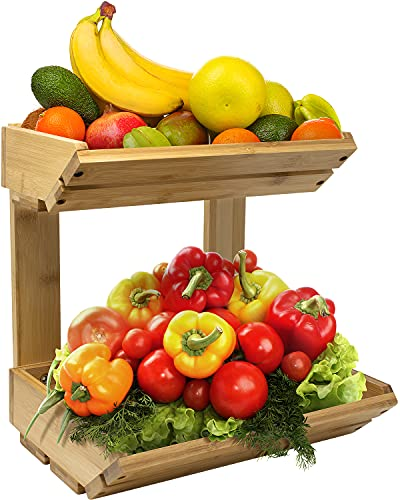 Sorbus Bamboo Fruit Vegetable Basket Kitchen Counter Stand 2 Tier Rack, Home Storage Tiered Bowl Display Tray Holder for Bread, Fruit, Vegetables & Snacks