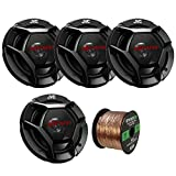 "Car Speaker Package of 2 Pairs of DR Series 6.5"" Inch 300 Watt 2-Way Upgarde Car Audio Stereo Coaxial Speakers Bundle Combo with Enrock 50 Foot 16 Gauge Speaker Wire"