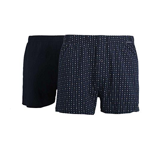 Götzburg Herren Boxershort, Unterhose, Shorts - Unterwäsche - Baumwolle, Single Jersey, Navy, Bedruckt, mit Eingriff, 2er Pack 8