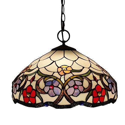 Beleuchtung Tiffany Stil Pendelleuchte, WAL Titania Antike und mit Juwelen Uplighter Sunflower Design Pendelleuchten Pendant Glasmalerei Schatten, 30 * 40 cm.