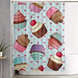 DHGER Duschvorhang Cupcake Pattern Printed Shower Curtains Fabric Waterproof Washable Polyester Fabric 60 X 70 Inch Bathroom Decor Set with Hooks