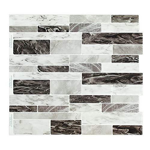 Fawyhr Auto adhesivo Mosaico Tile Backsplash Pasta de pared Calcomanía Easy Pegatina DIY Cocina Baño Decoración para el hogar Vinyl Sky Marble Oblong (4pcs) Decoración hogareña