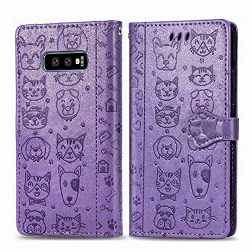 Abtory Galaxy S10 Lite Carrying Case,Cat&Dog Pattern PU Leather [Wrist Strap] [Card Holder/Cash Slots] Stand Flip Cover for Samsung Galaxy S10 Lite Purple