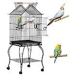 Yaheetech Jaula para Pájaros Jaula con Ruedas Soporte Comedero 59 x 59 x 145 cm