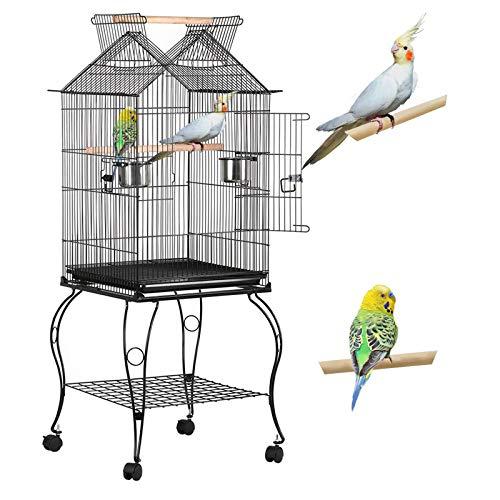Yaheetech vogelbauer Vogelkäfig Vogelvoliere 59 x 59 x 145 cm für wellensittich Finken Kanarienvögel