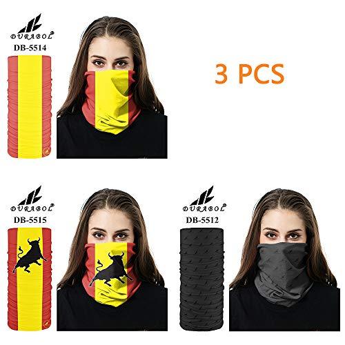 Durabol 3/PCS Pañuelos Bandana De Verano Cabeza,Bragas Cuello,Fular y Bufanda Multifuncionales España y Toro para Hombre y Mujer
