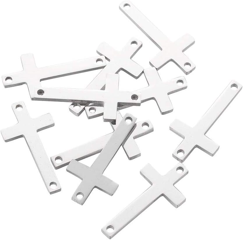 UNICRAFTALE 10 Uds 304 eslabones de Acero Inoxidable Conectores de Patr/ón Cruzado Lateral Conectores de Encantos de Orificios Peque/ños para Hacer Joyas DIY de 20x10x1mm Agujero 1 mm