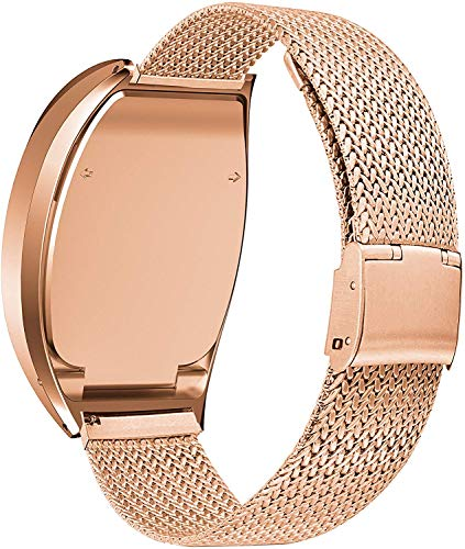 BaiHui Compatible with Fitbit Zip Watch Band, Metal Case Accessory + Stainless Steel Bracelet Replacement Wristbands,Breathable Metal Strap for Daily Wear (Rose Gold-Large, No Tracker)