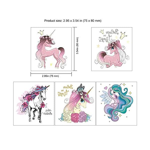 Unicorn Temporary Tattoos for Children Kids Girls(45Sheets),Konsait Great Girls Fake Stickers Waterproof Rainbow Unicorn… 5
