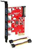 Inateck PCI-e to USB 3.0 (4 Ports) PCI Express Card and 15-Pin Power Connector, Red (KT4001)
