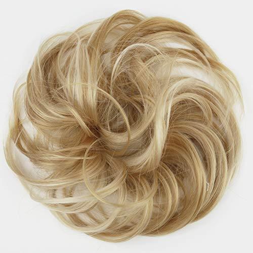 PRETTYSHOP Haarteil Haargummi Hochsteckfrisuren unordentlicher Dutt leicht gewell. Farbe: blond mix G30B