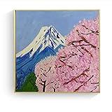 ARgnqu DIY Pintar por números Cuadro de Arte de Pintura Japonesa Sakura Fuji Pintar por numeros Principiante con Pincel y Pintura acrílica Kits Theme Digital Home Wall Artwork A50X50cm(Sin Marco)