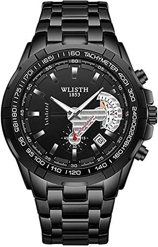QHG Relojes para Hombre Relojes de cronógrafo a Prueba de Agua de Acero Inoxidable de Acero Inoxidable de Acero Inoxidable de la Moda Luminosa para Hombres con Fecha automática (Color : Full Black)