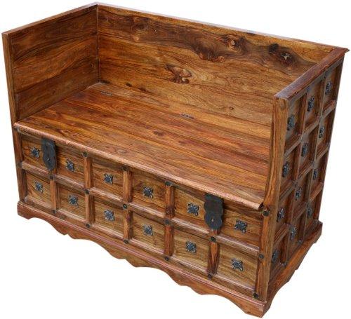 Guru-Shop Kolonialstil Sofa-Box R877, Braun, Akazienholz, 80x120x60 cm, Sitzmöbel