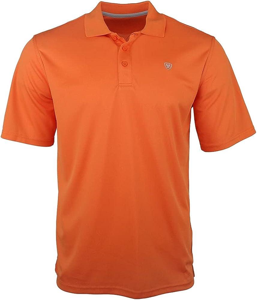 ARIAT Men's Tek Short Sleeve Polo, Mandarin Orange