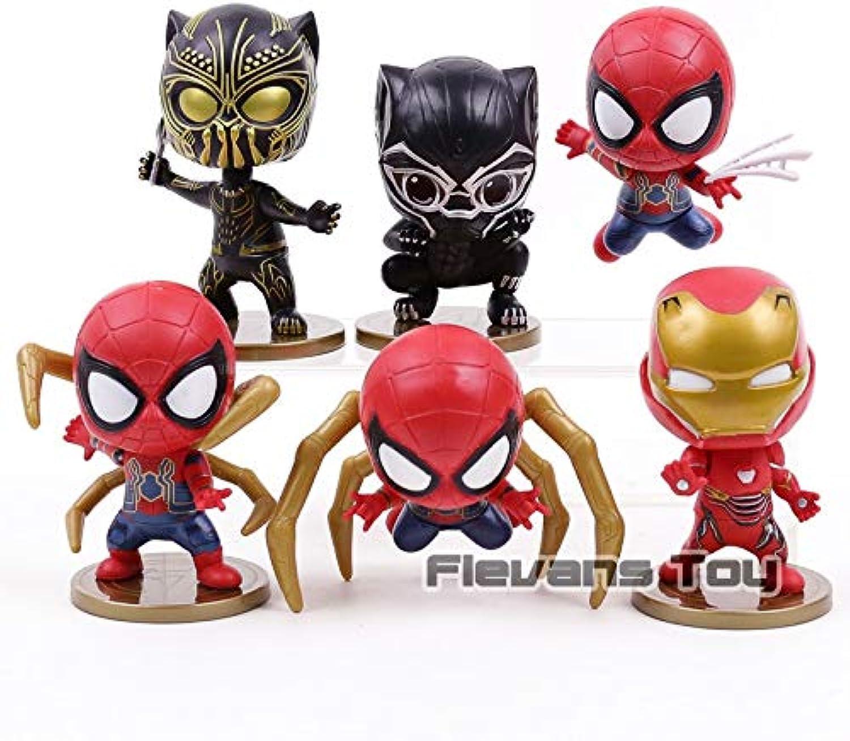 Avengers Infinity War Iron Man Spiderman Iron Spider Black Panther PVC Figures Toys 6pcs Set