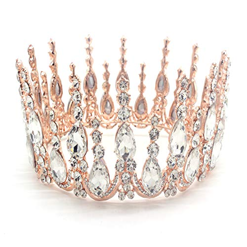Weddingtopia Rose Gold Wedding Crown Woman -Wedding Tiara For Bridal With Crystal Bobby Pin and Matching Rhinestone Necklace Set(ROSE GOLD CLEAR)