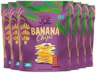 """Sriracha flavored Chips, Gluten-Free Healthy Snacks for Adults & Kids – Vegan & Paleo Approved – A """"Potato Chip"""" That's Good For You (Made From 100% Real Banana) 6 individual snacks"""