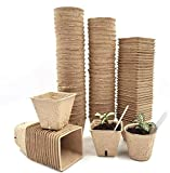 G-More 102PCS Peat Pots Seed Starter Kit for Garden Seedling Biodegradable Tray 100% Eco-Friendly Organic Germination Seedling Trays (51 Square+51 Cylinder)| 20 Plastic Plant Markers (6CM)