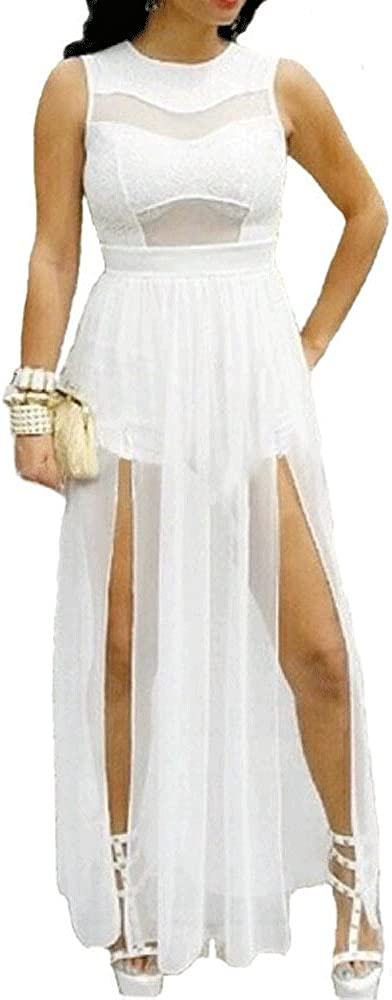 730 - Plus Size Double Slits Whit All Maxi Chiffon Jumpsuit Max 67% OFF Lace Brand new