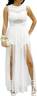 730 - Plus Size Double Slits Lace Chiffon Jumpsuit Maxi Dress