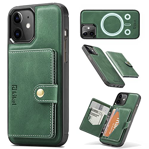 KIKET Magnetic Leather Case [1x Magnetic ArmyGreen Leather Wallet Card Holder] Designed for iPhone 12/12 Pro Case [Mil-Grade Drop Tested] [Kickstand Feature] Compatible with All MagSafe Accessories