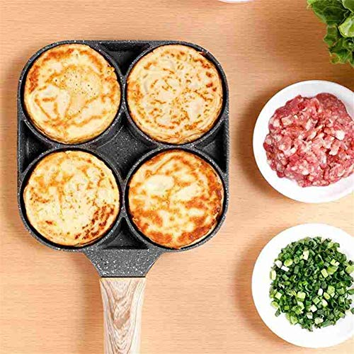 LQF-9.7 Deep Fried Omelette moule 4 trous non bâton Petit déjeuner pratique Burger Oeufs Ham restaurant Omelette Pan de cuisson facile Egg Artefact (Sheet Size : 26cm)