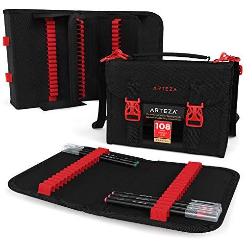 Arteza Layoutmarker Organisator, Taschenorganizer mit 108 Steckplätzen, abnehmbare Stiftetasche und Tragegurt, Reißverschlusstasche & Tragegriff, für Marker, Pinsel, Farbstifte