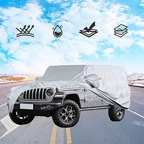 Cubierta de Coche Impermeable ,Funda de Coche Exterior Anti-UV,Funda de Coche Exterior Oxford para coche 100 % resistente al agua, para Jeep Wrangler CJ, YJ, TJ y JK de 4 puertas/SUV,(2010-2018)