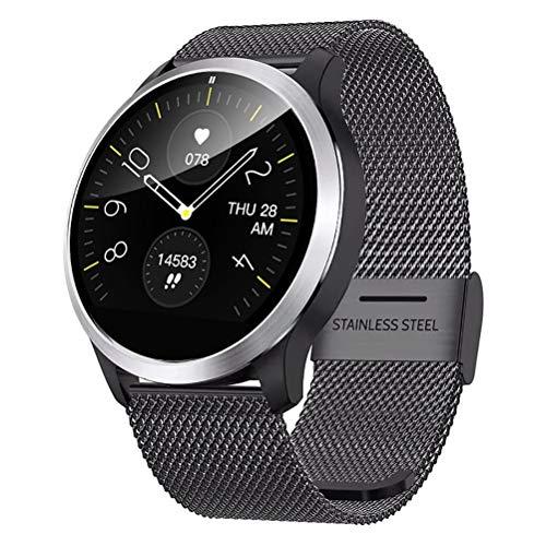 QKa IP68 Smart Watch mit EKG, Blutdruck-Herzfrequenzmessgerät, Smartwatch mit Edelstahlarmband und Einstellbarer Helligkeit (Einschließlich Silikonband),Schwarz