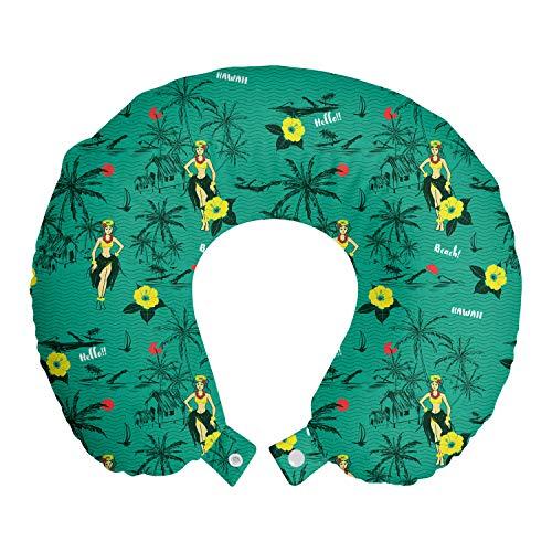 ABAKUHAUS Hawaiano Cojín de Viaje para Soporte de Cuello, Muchachas de Hula Palms Veleros, Cómoda y Práctica Funda Removible Lavable, 30x30 cm, Oscura Espuma de mar y Multicolor