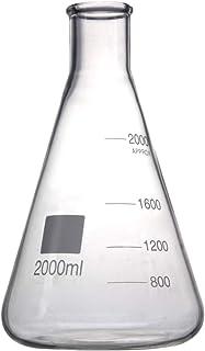 Deschem 2000ml,Glass Erlenmeyer Flask,2 Litre,Lab Conical Bottle,Normal Neck,Narrow Mouth