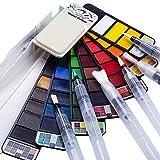Fuumuui Kit de Acuarela Pintura Acuarela de Arte 42 Colores Brillantes 6 Pincel de Acuarela Pintura de Acuarela Adecuada para Principiantes y Profesionales