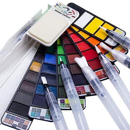 Fuumuui Kit de Acuarela Pintura Acuarela de Arte 42 Colores Brillantes 6 pincel de acuarela de Alta Calidad Pintura de Acuarela Adecuada para Principiantes y Profesionales