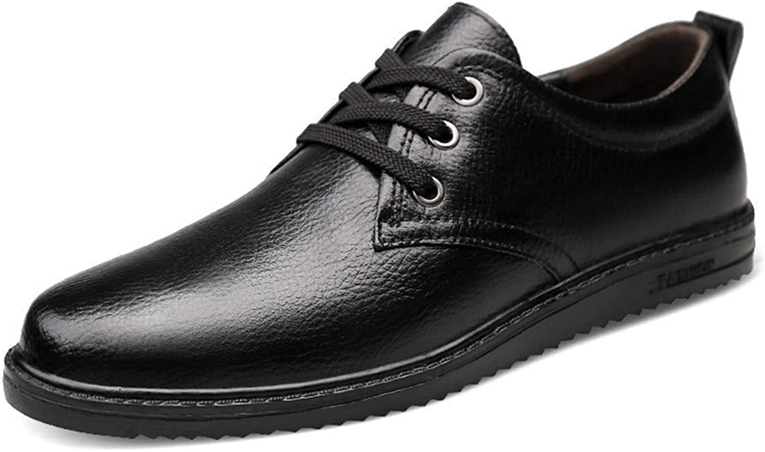 Hhgold 2018 Men Business Oxford shoes, Casual Classic Genuine Leather Lace Low Top Flat Formal shoes (color  Black, Size  47 EU) (color   Black, Size   42 EU)