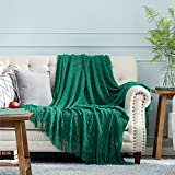 Bedsure Throw Blanket for Couch, 100% Acrylic Knit Woven Blanket, 50×60 Inch - Cozy Lightweight Decorative Throw for Sofa, Bed and Living Room - All Seasons Suitable for Women, Men and Kids (Green)
