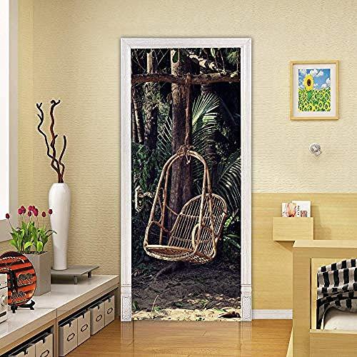 Deur Sticker Creatieve 3D deur Stickers Schommel stoel Pvc behang sticker zelfklevende DIY afneembare waterdichte wandafbeeldingen Wooncultuur deur sticker 77X200 cm